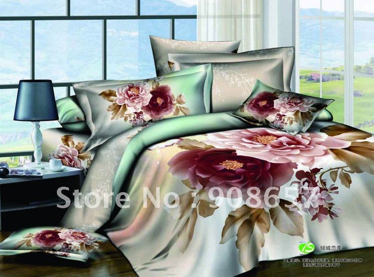 Розовый свежий пион цветочные принты цветочные постельного белья хлопок / пододеяльники комплект 4 шт. для полного / королева скидка постельное белье