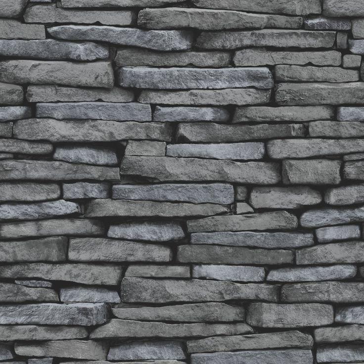 Fine Decor Slate Effect Wallpaper Black / Charcoal