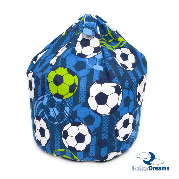 This football bean bag is coloured with many different shades of blue and has white, blue and green coloured football prints.  This football bean bag can be used as a gaming chair, watching tv, reading, or simply use it to lounge around.  The bean bag is light, easy to move around and filled with non flatten beans, which are Fire Retardant, meeting the 1988 fire regulations. Football fans will love this 'Football' bean bag!