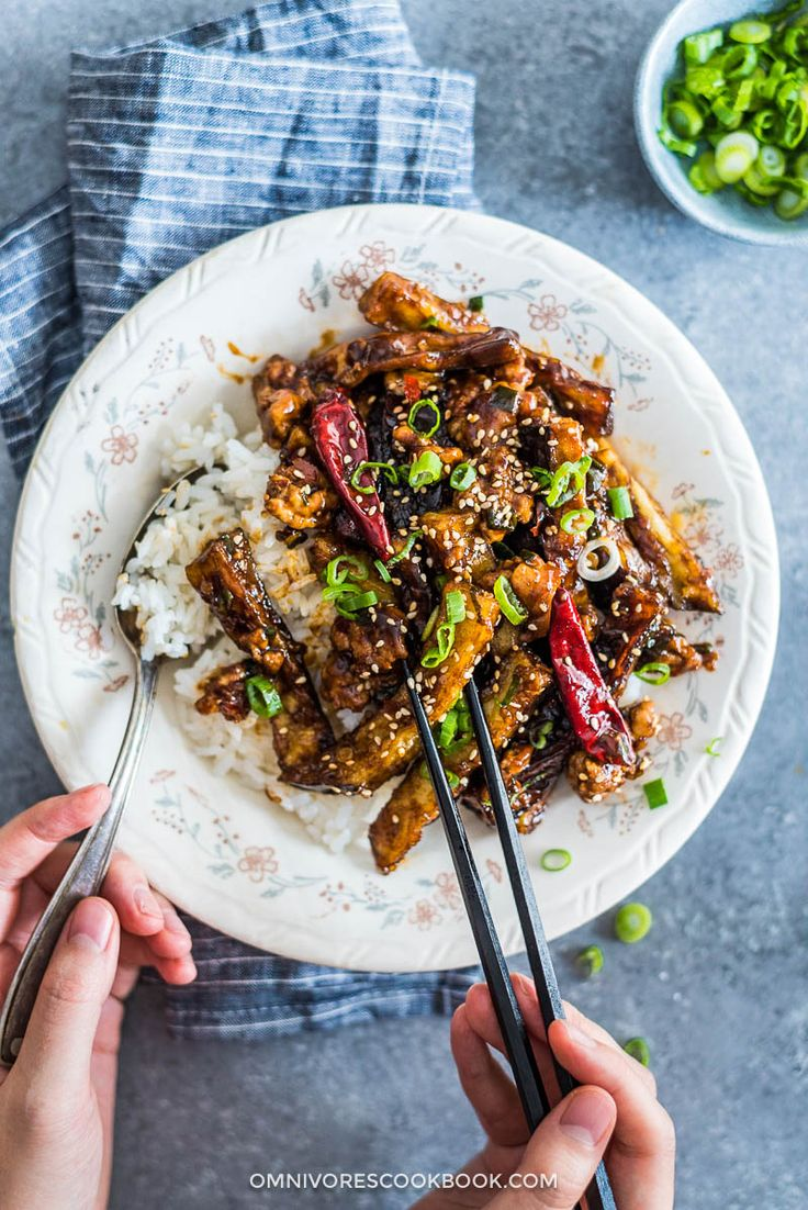 Sichuan eggplant stir fry is incredibly addictive! This is crispy eggplant covered in a sweet, sour, savory and slightly spicy sauce. {vegetarian adaptable}