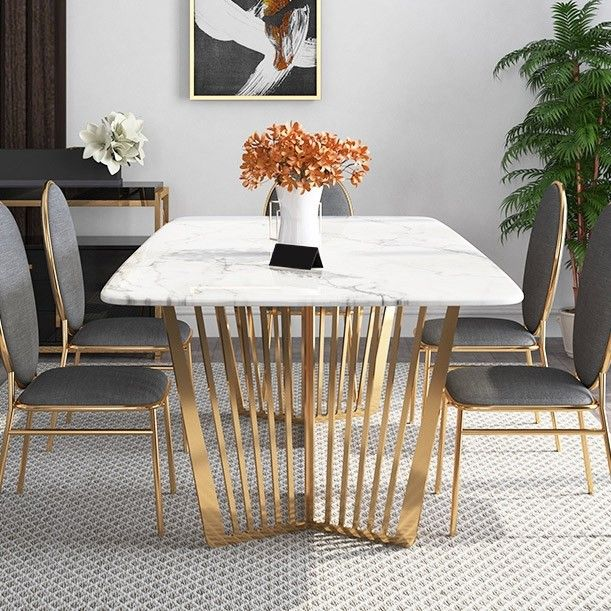 Contemporary 63 Rectangular Faux Marble Dining Table Gold Base Stainless Steel In 2020 Dining Table Marble Faux Marble Dining Table Dining Table Design Modern