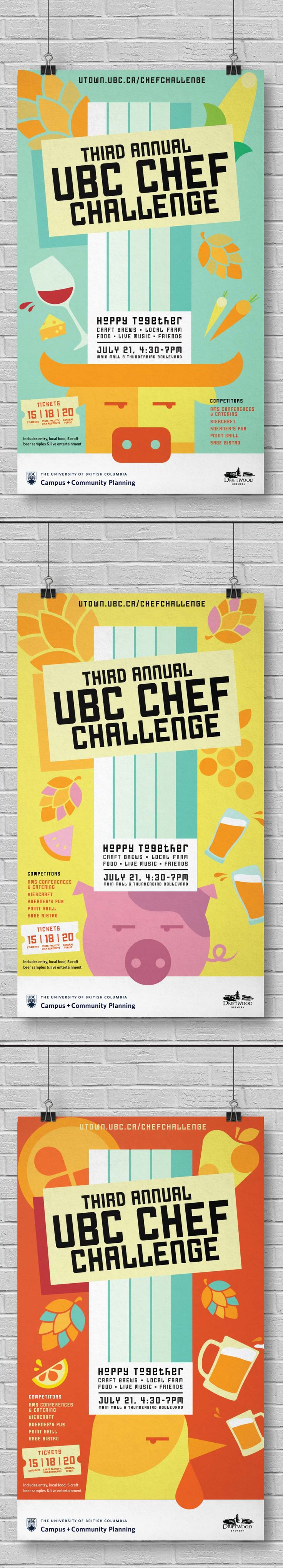 Poster Series for UBC's third annual Chef Challenge. A fun filled event packed with craft beer, farm fresh food and entertainment  |  Ion Brand Design #inspiration #flatillustration #illustration #campaign