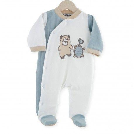 Pijama Osito y Tortuga #pijama #reciennacido #bebe #osito #tortuga #blanco #almendra #beige #kinousses