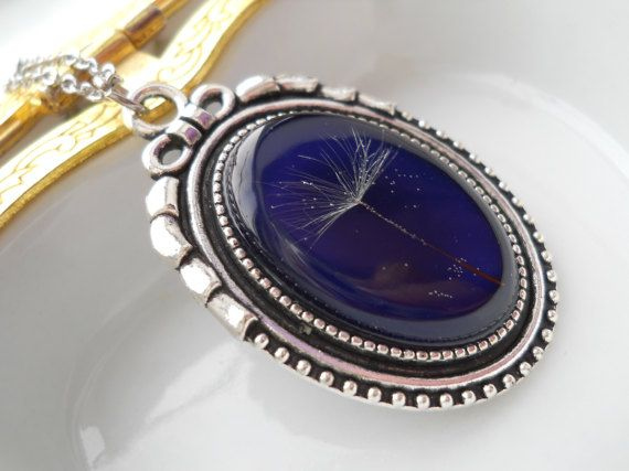 Real dandelion pendant surgical steel chain make a by LightPurple