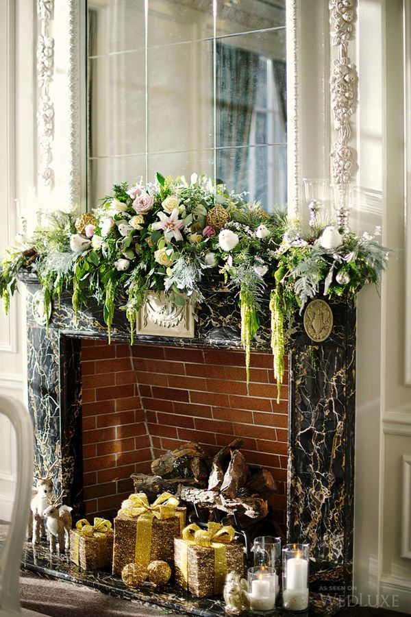 fireplace flower design with trailing amaranthus