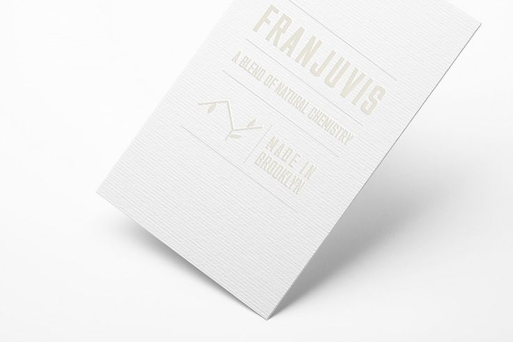 "Franjuvis Complimentary card  The logo is a chemical formula which represents Francis background and skills, with leaves growing off of it, which represents the natural aspect of the brand. I also wanted to give the visual identity an apothecary feel with a modern touch which informed the font and color I chose. Finally, I wanted the tag line to clearly state what the brand is about: ""A Blend of Natural Chemistry""."