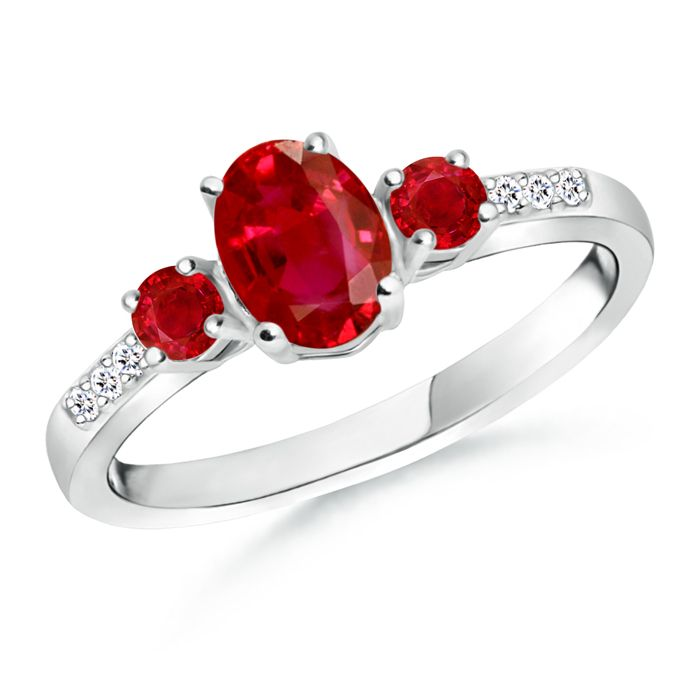 Angara Three Stone Ruby Ring With Diamond Accents in 14k Yellow Gold qpjBP4mtxI