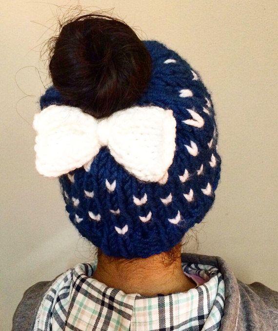 Knitting Messy Bun // Knit Hat // Messy Bun Hat // by Triconuts