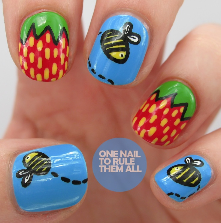 48 best nail art bees images on pinterest bees bumble bees and nail art nail design one nail to rule them all strawberry and bees prinsesfo Choice Image