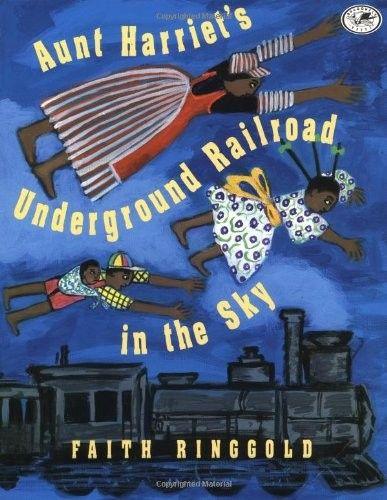 Aunt Harriet's Underground Railroad in the Sky    Cassie, who flew above New York in Tar Beach, soars into the sky once more. This time, she and her brother Be Be meet a train full of people, and Be Be joins them. But the train departs before Cassie can climb aboard. With Harriet Tubman as her guide, Cassie retraces the steps escaping slaves took on the real Underground Railroad and is finally reunited with her brother at the story's end.