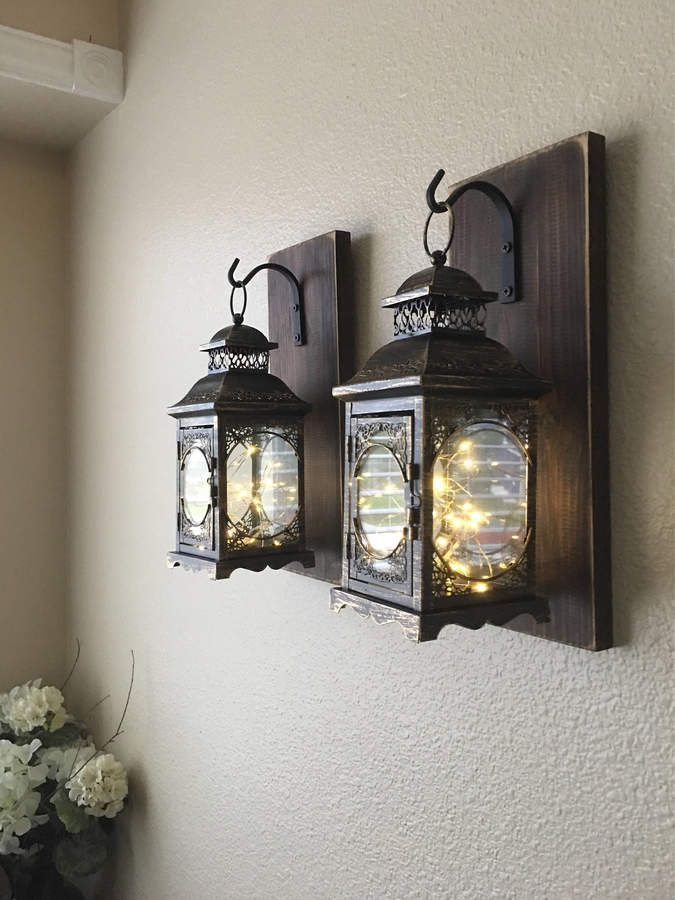 How Pretty Are These Farmhouse Style Hanging Lantern Wall Sconces With Fairy Tale Led Lights They Wo Farmhouse Wall Decor Wood Sconce Farmhouse Bedroom Decor