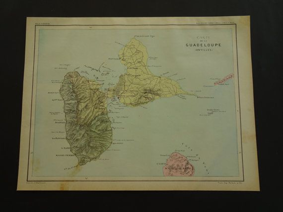 GUADELOUPE map of Guadeloupe 1896 original old by DecorativePrints