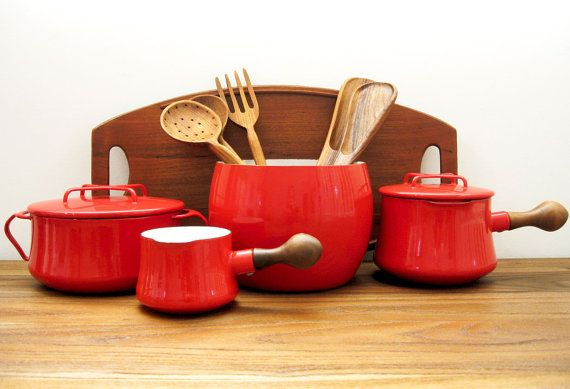 dansk kobenstyle enamel pot collection. Love the bulbous wooden handles on the saucepans
