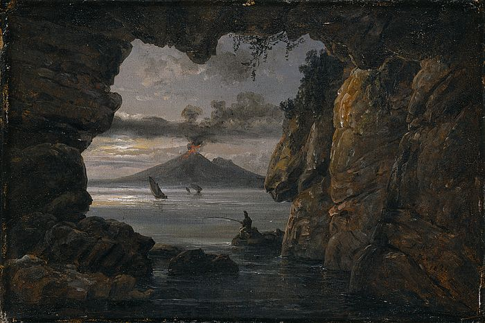 Johan Christian Dahl (1788–1857): Grotto by the Bay of Naples. Moonlight, 1821