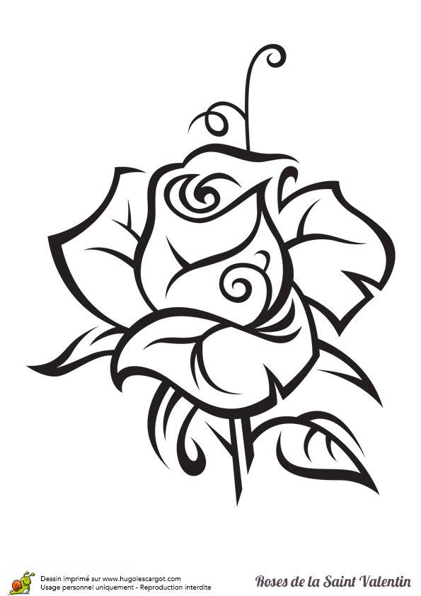 Une rose à colorier et à offrir pour la Saint Valentin