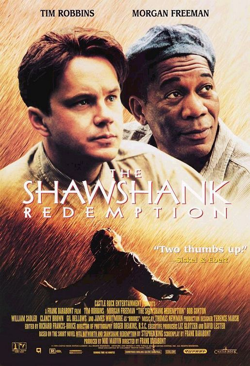 Shawshank Redemption.  A practically perfect movie. Not a shot is wasted by Frank Darabont and the performances by Tim Robbins & Morgan are of quiet assurance, not exaggerated screen grabbers.  Underrated by theatre goers appreciated subsequently, one of the greatest movies of all time.