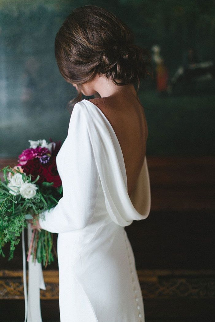 Cowl neck low back long sleeve wedding dress inspiration