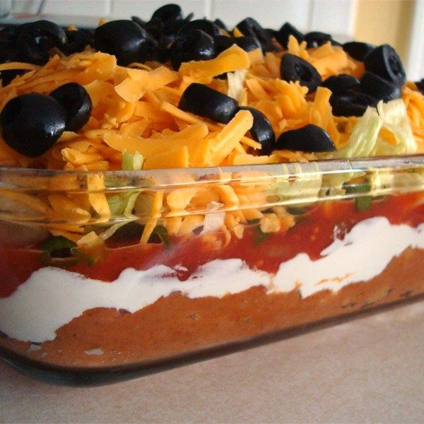 "Seven Layer Taco Dip I ""This recipe was awesome! Everyone at the party brought chips and salsa and this was the only one touched."""
