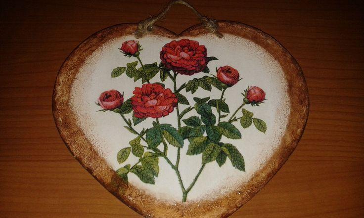 Decorazioni da parete - Quadretto targhetta cuore legno decoupage rose  - un prodotto unico di danif5 su DaWanda
