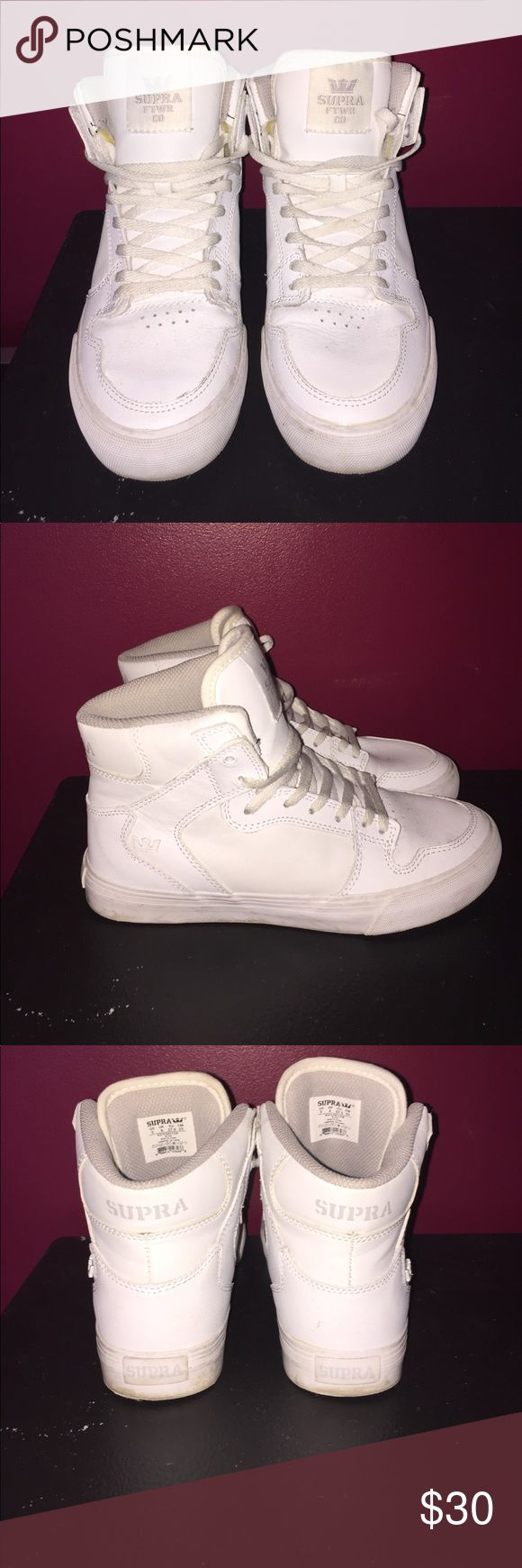 Sneakers. All white Supra sneakers with red bottoms. Pretty good condition worn two times. 8/10 woman's 5. True to size. Supra Shoes Sneakers