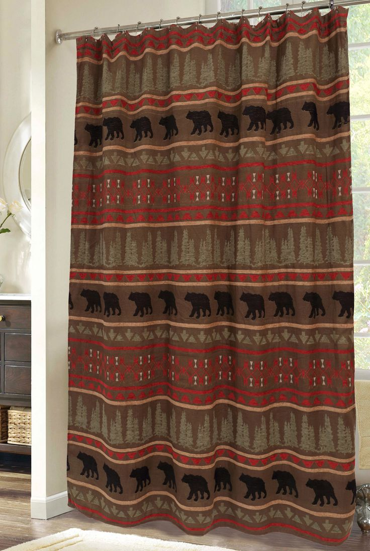 Country bathroom shower curtains - Features Bear Country Collection Material 100 Polyester Buttonhole Country Shower Curtainsshower