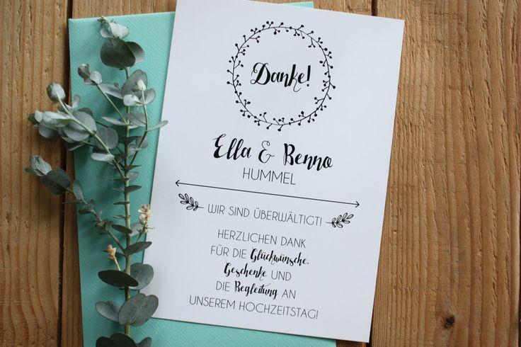 Danksagungskarten - Dankeskarte | Hochzeit - ein Designerstück von messismine bei DaWanda
