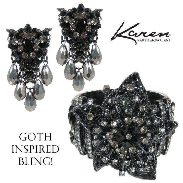 Goth Inspired Bling! Earrings (#1087e) & Cuff (#1030b) by Karen McFarlane
