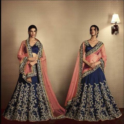 Navyblue Embroidered Wedding Nakkashi Choli ,Indian Dresses - 2
