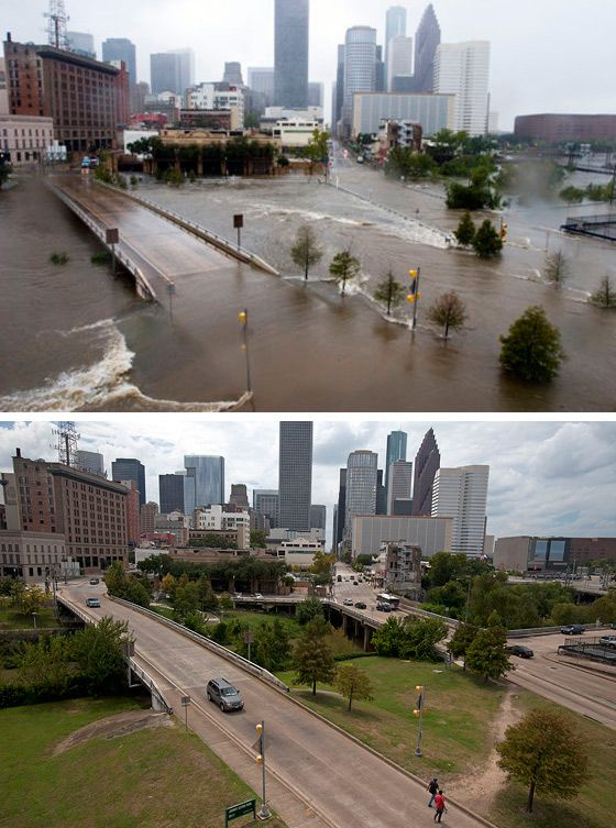 I still can't get over this picture of Buffalo Bayou! (Houston Press: Hurricane Ike, Then and Now)