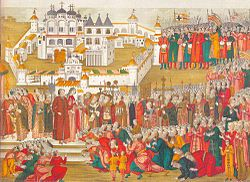 A crowd at the Ipatiev Monastery imploring Mikhail Romanov's mother to let him go to Moscow and become their tsar (Illumination from a book dated 1673).