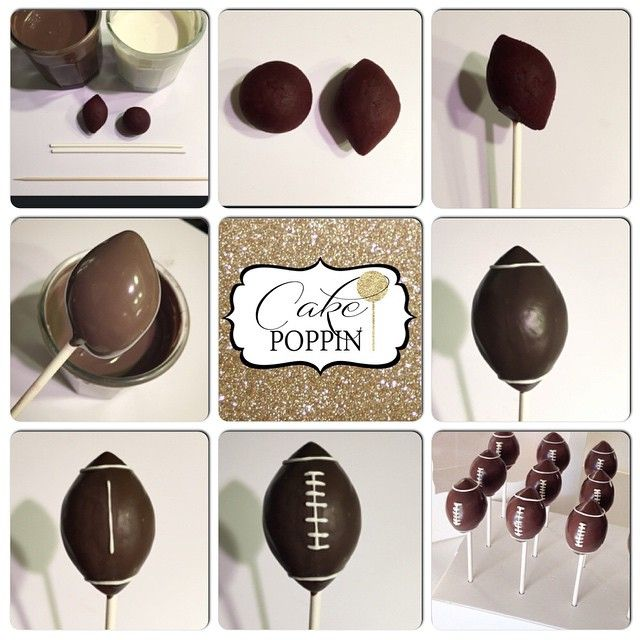 A quick football cake pop tutorial for those of you that missed the show today❤️ You will need chocolate melts, white melts, cake pop sticks, a toothpick (I use a skewer for better control) and cake balls formed into a football or lemon shape. The hardest part about these is shaping the football. I roll into a ball and then thin out the ends by placing my finger on either side of cake ball while I roll. This creates a good start and I finishby pinching the ends into a shape that's perfect…