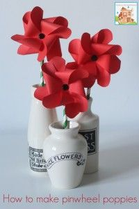 Pinwheel Poppies - A Remembrance, Armistice or Veteran's day activity