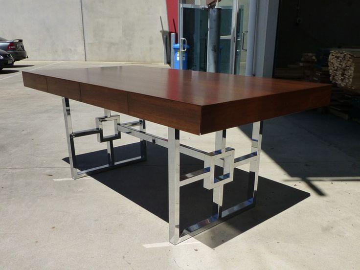 Contemporary Writing Desk with Chrome Base