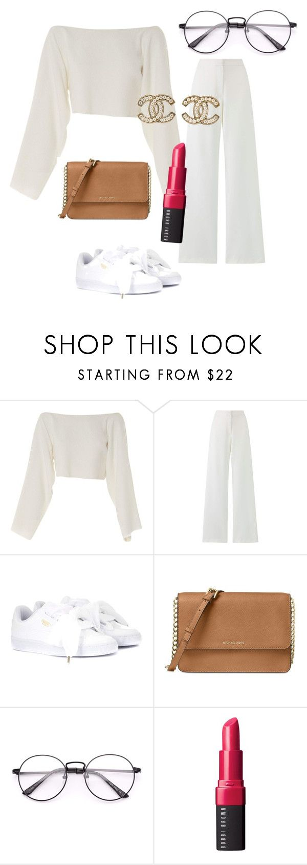 """""""white outfit ❤"""" by valeria-arcos on Polyvore featuring CÉLINE, Puma, Michael Kors, Bobbi Brown Cosmetics and Chanel"""