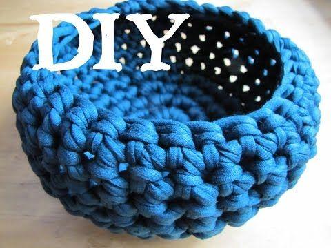 Utensilo / Körbchen häkeln DIY mit Textilgarn (auch für Anfänger!) - YouTube