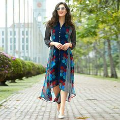 Buy Blue Georgette Kurti in High Low Style at Rs. 1145- Get latest Indo Western Suits for womens at Peachmode. ✓Genuine Products ✓ Easy Returns ✓ Best ricing
