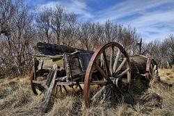 an old wagon in saskatchewan