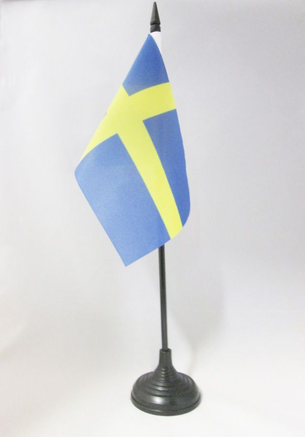 8 54 Aud Sweden Table Flag 4 X 6 Swedish Desk Flag 15 X 10 Cm Black Plastic Stick Ebay Collectibles