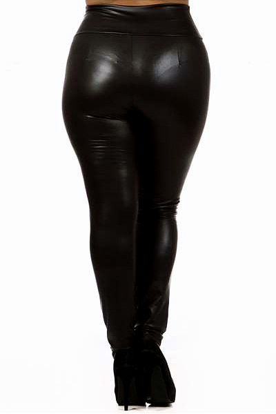 39992cd91dc1d Matte Faux Leather High Waisted Leggings with Zipper - Plus Size di ...