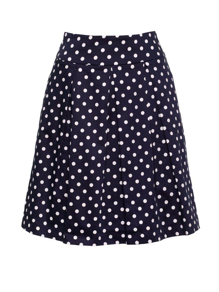 Connect the Dots Skirt   Navy & Cream   Polka Dot Skirt