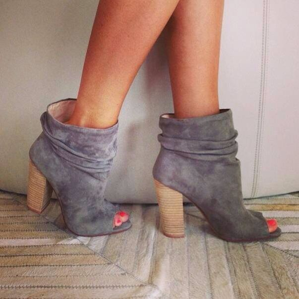 Up close and personal with the new Kristin Cavallari Laurel bootie. #chineselaundry #Fall #NewArrivals http://www.shopakira.com/products/chinese-laundry-break-up-peep-toe-slouch-booties-grey-suede.html