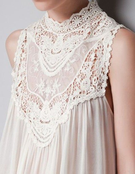 0bbd2f5f66159f top stylegasms white cream off-white high high neck renaissance lace blouse  halter top dress cover up victorian vintage tunic summer spring beach