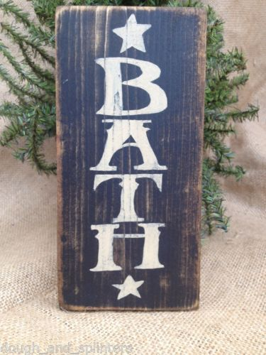 Primitive Americana Bath Star Home Decor Wood Sign