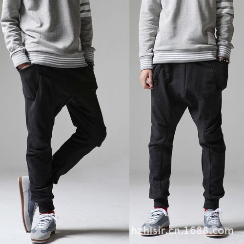Free Shipping ! New 2014 Fashion Korean Men's Draping Harem Pants Casual Mens Drop Crotch Pants Hip Hop Black Jogger Sweatpants US $21.69