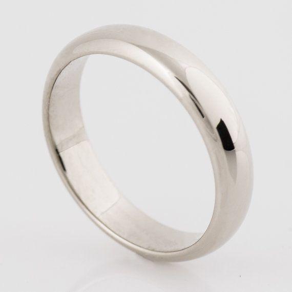 Classic Wedding Ring Handmade 14k 18k White Gold Wedding Bands