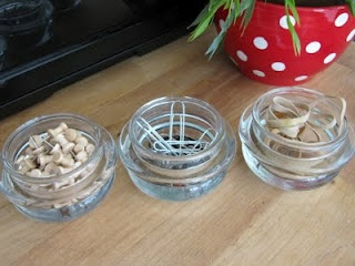 Recycling Candle Jar Tops - these are for the glass tops (from Yankee Candles or similar) - Projects on the blog include holding sewing needles, office supples, salt & pepper, sugar bowl, etc