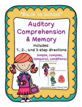 "This ""Back to School"" themed set targets auditory comprehension & memory of 1-, 2-, and 3-step directions. More than 150 direction cards in all! Adaptable to simple, complex, temporal, and conditional directions. Option for expressive language practice, too!"
