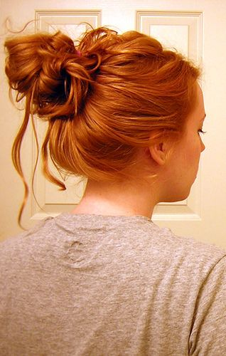 Messy bun... with fantastic hair color... I want it... ^_^