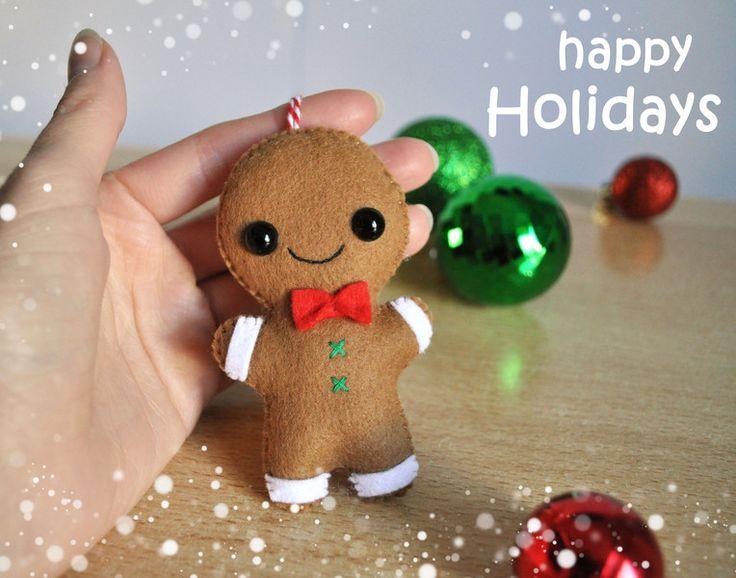 Weihnachtsdeko - Weihnachtsschmuck Filz Ornament Lebkuchenmann - ein Designerstück von Anastezzzia bei DaWanda