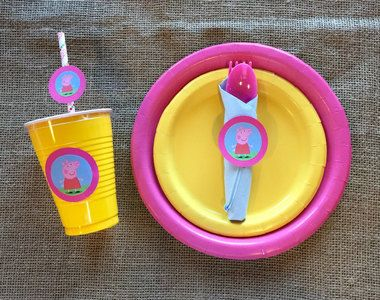 Peppa Pig Birthday Party Bundle Cups, Napkins, Utensils and Plates - Set of 10